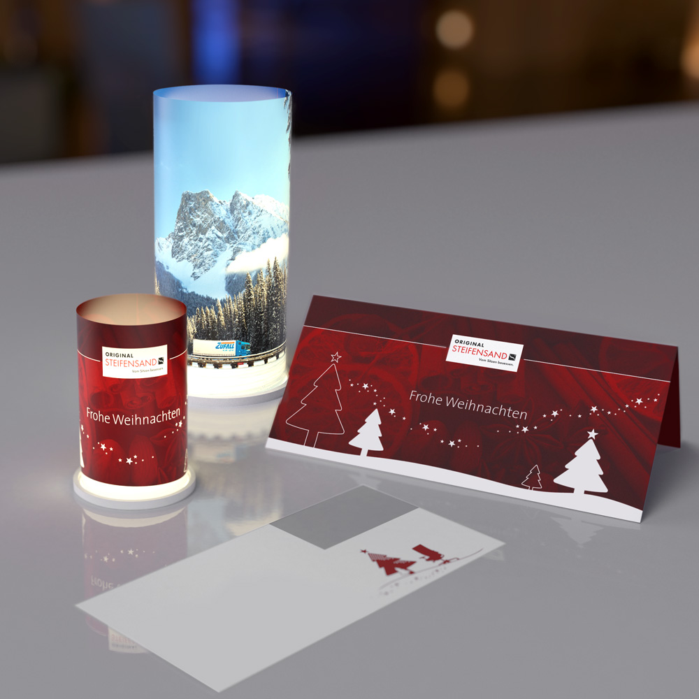 Windlichter mit Weihnachtskarte