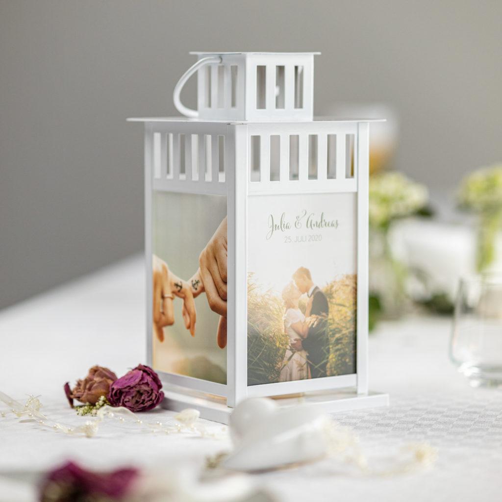 Foto-Laterne für Hochzeit in weiß