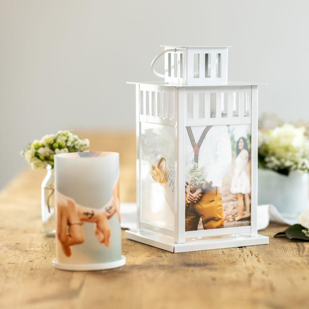 Foto-Laterne mit Bildern und Windlicht für Hochzeit
